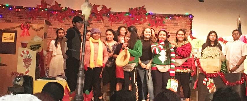 Students at Haven Drive putting on a Christmas play.