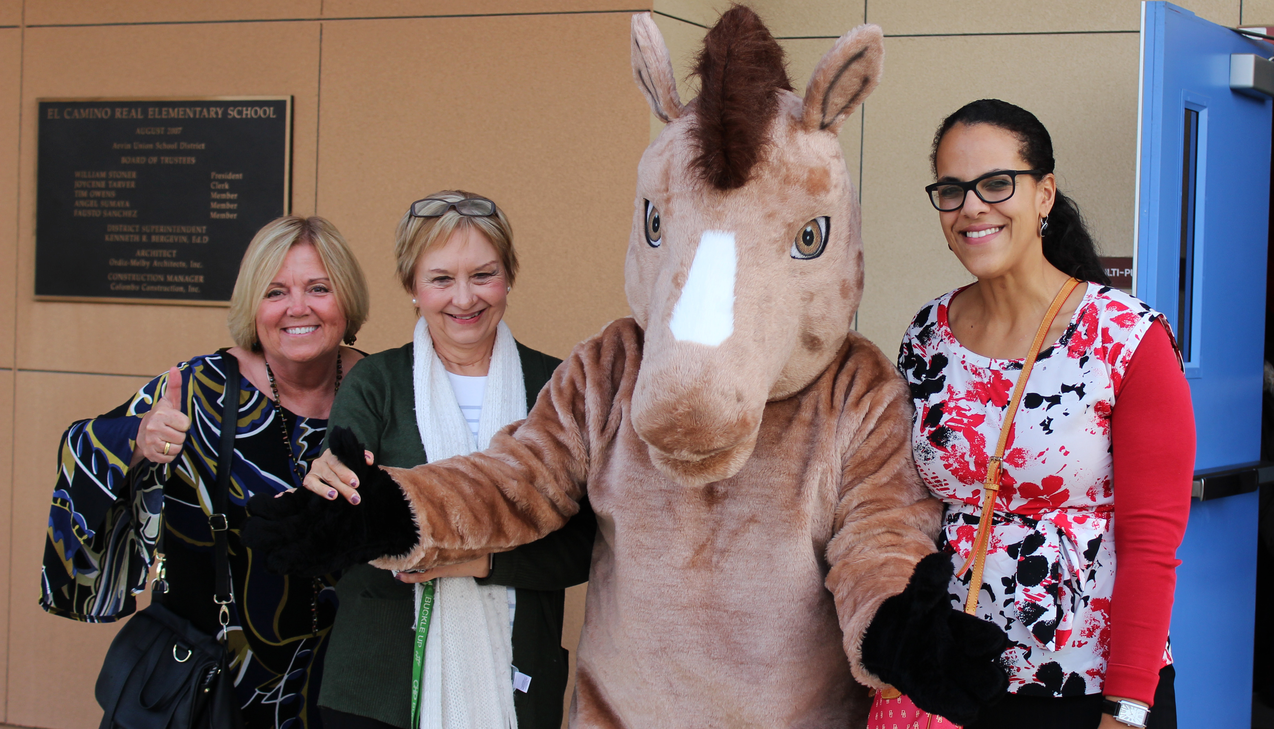 District Superintendent Dr. McLean, Principal Mrs. Betty Guyton and Vice Principal Ms. Patrica Lane with mascot